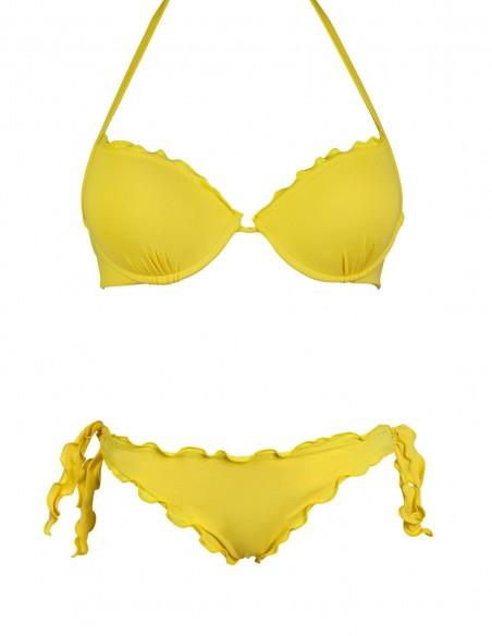 Bikini frou frou giallo composto da reggiseno super push up e slip o brasiliana con lacci