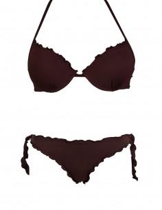 Bikini frou frou marrone composto da reggiseno super push up e slip o brasiliana con lacci