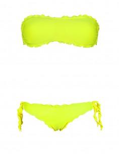 Bikini frou frou giallo fluo composto da fascia  e slip o brasiliana con lacci