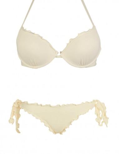 Bikini frou frou panna composto da reggiseno super push up e slip o brasiliana con lacci