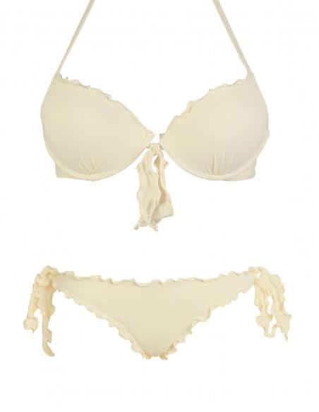 Bikini frou frou panna composto da reggiseno super push up con fiocco e slip o brasiliana con lacci