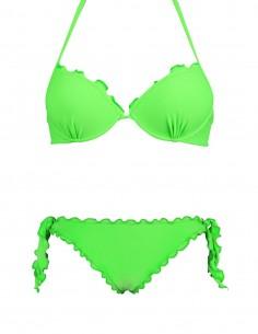Bikini frou frou verde fluo composto da reggiseno super push up e slip o brasiliana con lacci