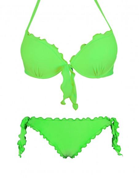 Bikini frou frou verde fluo composto da reggiseno super push up con fiocco e slip o brasiliana con lacci