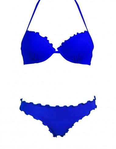 Bikini frou frou blue oltremare composto da super push up e slip o brasiliana senza lacci