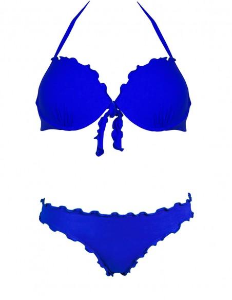 Bikini frou frou blue oltremare composto da super push up con fiocchi e slip o brasiliana senza lacci