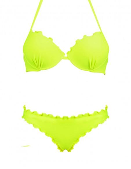Bikini frou frou giallo fluo composto da super push up e slip o brasiliana senza lacci