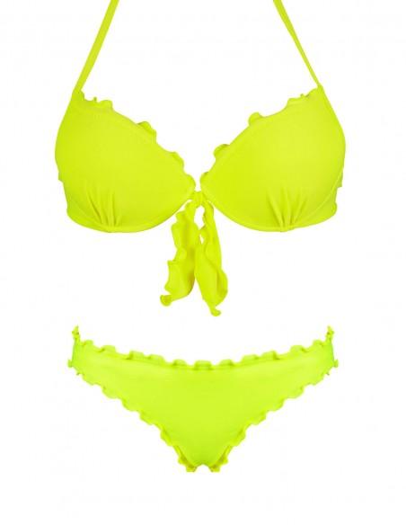 Bikini frou frou verde giallo fluo composto da super push up con fiocchi e slip o brasiliana senza lacci