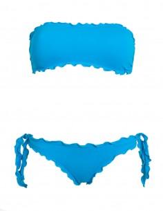 Bikini frou frou azzurro cielo composto da fascia  e slip o brasiliana con lacci