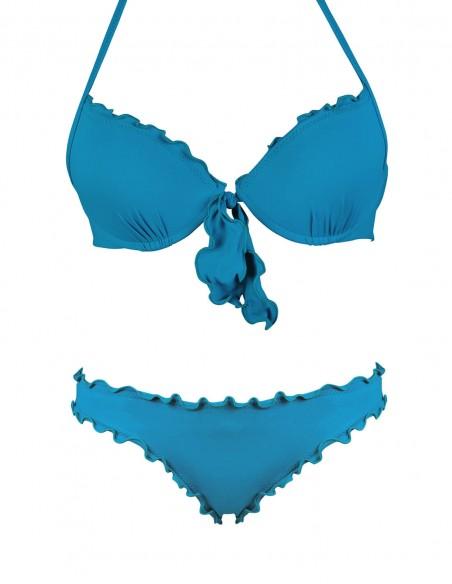 Bikini frou frou petrolio composto da super push up con fiocchi e slip o brasiliana senza lacci