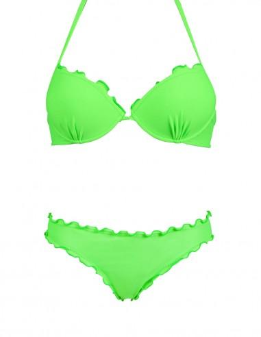Bikini frou frou verde fluo composto da super push up e slip o brasiliana senza lacci
