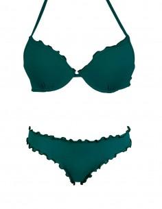 Bikini frou frou verde quercia composto da super push up e slip o brasiliana senza lacci